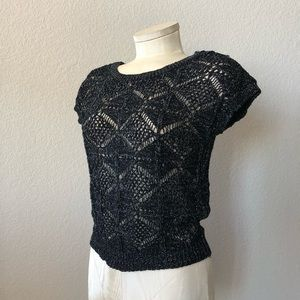 Boy Meets Girl black and silver loose knit top